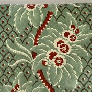 Vintage 1987 Laura Ashley Fabric Green Polished Cotton Printed In Holland 7.5 Yd