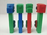 Vintage Lot Of 4 Semi Truck Pez Dispensers Different Colors And Trucks B