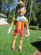 Vintage Disney Carved Wood Wooden Marionette Puppet Pinocchio
