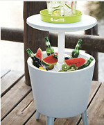 Table And Cooler In One Outdoor Accent Bbq Patio Deck Pool Cool Bar Resin White