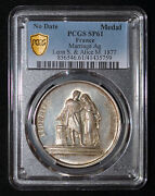 Pcgs Sp61 1883 France Medaille De Marriage Leon S. And Alice M. Silver Medal