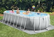 Intex 20ft X 10ft X 48in Prism Frame Oval Swimming Pool Set Ladder Cover Pump