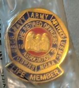 Vintage Brand New Retired Officers Association Life Member Pin - Army Navy Usmc