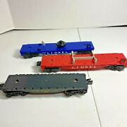 Lionel O Lot Of 3 Rolling Stock Flat Cars