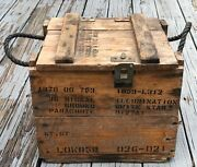 Vintage Wooden Crate Box Rope Handles White Star Illumination Parachute Flares