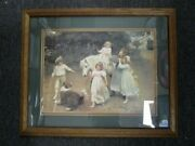 Arthur Eisley Childand039s Pony Ride Painting Matted And Framed Under Glass 1903