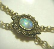 Antique Victorian Solid 14k And 7mm Opal Fob Slide 60 Gold Fill Chain Necklace