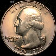 1776-1976 P Quarter Washington Bicentennial 25c Uncirculated Rainbow Toned Coin