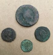 Group Lot Of 4 Ancient Coins Mostly Roman One Possibly Medieval