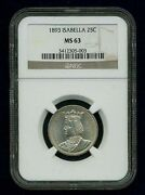 U.s. 1893 Isabella Quarter-dollar Silver Uncirculated Coin, Certified Ngc-ms63