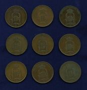 Sweden 5 Ore Coins 1875 2, 1876, 1884, 1895 3, And 1897 2, Lot Of 9