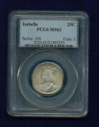 U.s. 1893 Isabella Quarter-dollar Silver Uncirculated Coin, Certified Pcgs-ms63