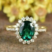 Oval Cut Green Emerald And 1.25ct Natural Diamonds Halo Ring 14k White Gold