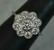 1.40tcw Vintage Natural Diamonds Cluster Ring 14k White Gold For Wedding, Gift