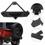 Rear Bumper Guard With Tire Carrier And 2x D-rings For Jeep Wrangler Jk 2007-2018