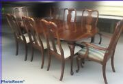 Ethan Allen Georgian Court Cherry Table 6 Dining Chairs And 2 Captain Chairs