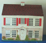 Vtg 1948 Playsteel Tin Litho Colonial Dollhouse National Can W Marx Furniture