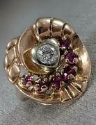 Antique 1.05ctw Old Mine Diamond Ruby 14k Rose Gold Heart Cocktail Ring K1384.2