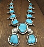 Massive Southwest Turquoise And Silver Squash Blossom Necklace