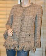 Brown Beige Leather And Wool Blend Boucle Fringe Blazer Size 46 Fits 8/10