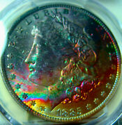 1885-o Rainbow Toned Morgan Silver Dollarpcgs Ms64fully Toned Obverse Color
