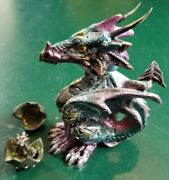 Lot Of 2 Dragons - Bobble Head Dragon And Openable Pewter Dragon Egg 2 Pieces