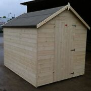 Wooden Garden Shed 12mm Thick Tandg Untreated Apex Roof Hut Fully Tandg