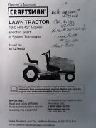 Sears 19.0 Hp 6 Speed 42 Craftsman 917.274650 Lawn Tractor Owner And Parts Manual