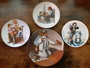 Lot Of 4 Collectible/antique Norman Rockwell Plates/saucers 80's For Display