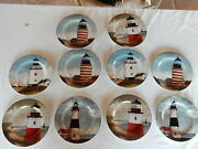 Set 10 David Carter Brown Collection Lighthouse Salad Plates By The Sea