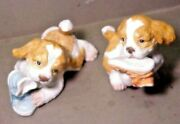 Homco Vintage Pair Bisque Cocker Spaniel Puppies Chewing Shoes