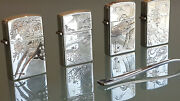 4 Japanese Vintage Lighters 950 Sterling Silver With Hand Eched Cases. Unique