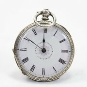 Antique Silver Fob Pocket Watch 925 Sterling Pretty Key Wind 17 Repairs