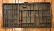 Large Antique Type Tray Printers' Drawer Shadow Box Tubbs Cast Iron Handle