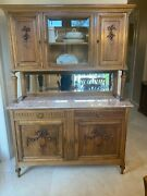 Antique Walnut Sideboard, French Louis Xvi Style, Marble Top And Mirror