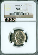 1969-s Jefferson Nickel Ngc Mac Ms64 4fs Rare Spotless Would List For 5000 Fs.