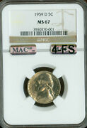 1959-d Jefferson Nickel Ngc Mac Ms67 4fs Pq Finest Spotless 4000.00 For A Fs.