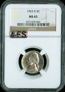 1963-d Jefferson Nickel Ngc Mac Ms65 4-fs Extremely Very Rare 7,000.00 In Fs .