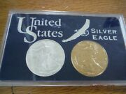2000 Silver 1 Oz. Eagle In 24k Gold Plated And 2007 Silver Eagle 1 Oz. Coin Free S