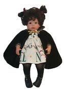 Vintage Porcelain Christmas Doll W/ Noel, Holly And Santa Dress And Black Cape 23