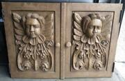 Pair Of Two Carved Wood Cherub Angel Carvings Doors Plaques Art Sculpture Set A