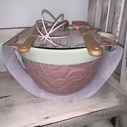 The Bakeshop Mixing Bowl Pitcher Whisk Spatulas Pink Floral New 4 Piece Set
