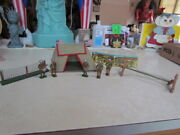 Vintage 1950and039s Barclay Cloth Large Army Tent W/5 Lead Soldiers Backdrop Fence