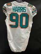 90 Charles Harris Miami Dolphins Game Used White Throwback Nike Jersey Year '19