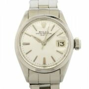 Rolex Oyster Perpetual Date 6516 Silver Dial Antique Wristwatch Women No.9095