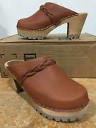 Mia Womenand039s Elsa Luggage Brown Leather Heeled Mule Sandals Wood Clogs Shoes 7 Us