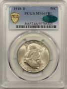 1948-d Franklin Half Dollar - Pcgs Ms-66 Fbl Fresh, Pq And Cac Approved