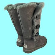 Ugg Bailey Button Gray Suede Triplet Ii Sherpa Lined Tall Boots Size 7 1873