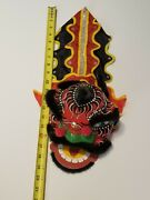 Vintage Chinese New Year Dragon Head Paper Mache Hand Painted Puppet Mask Rare