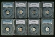 8 - Pcgs Certified Ms66 Us Roosevelt Silver 10c Dimes            Aa